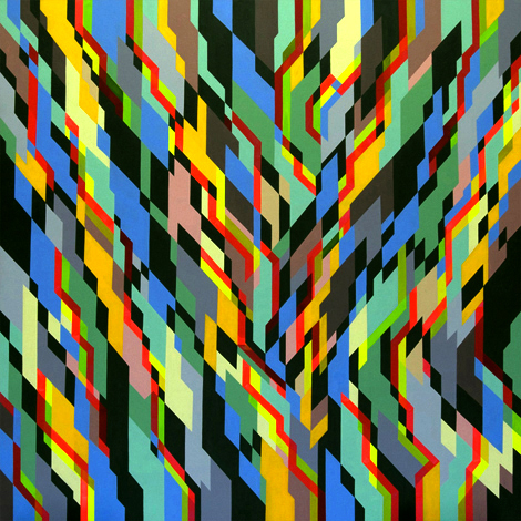 High tech Hippies, 170cm x 170cm, acrylic on canvas, 2009