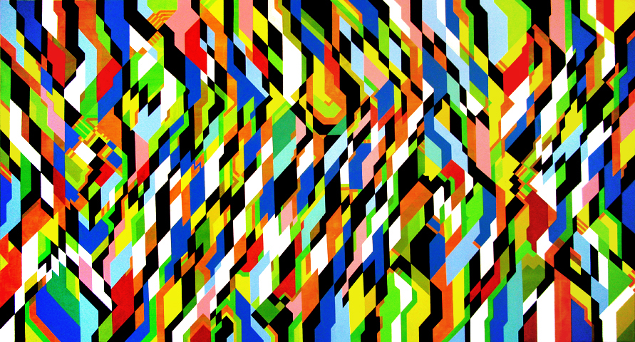 dual pitch, 230cm x 120cm, acrylic on canvas, 2008-09