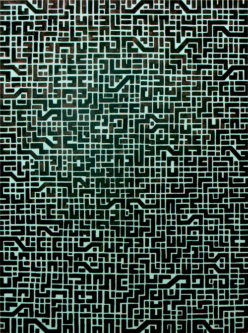 circuit board BLACK, 90cm x 120cm, acrylic on board, 2009