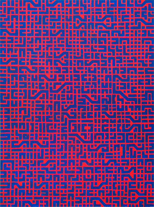 circuit board PINK, 90cm x 120cm, acrylic on board, 2009