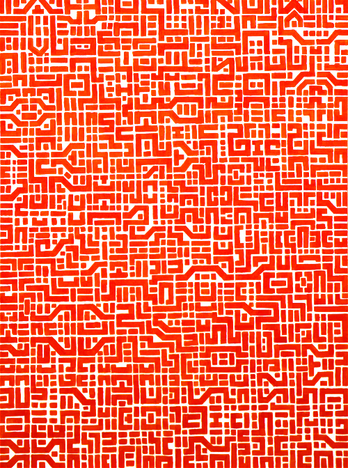 circuit board RED, 90cm x 120cm, acrylic on board, 2009